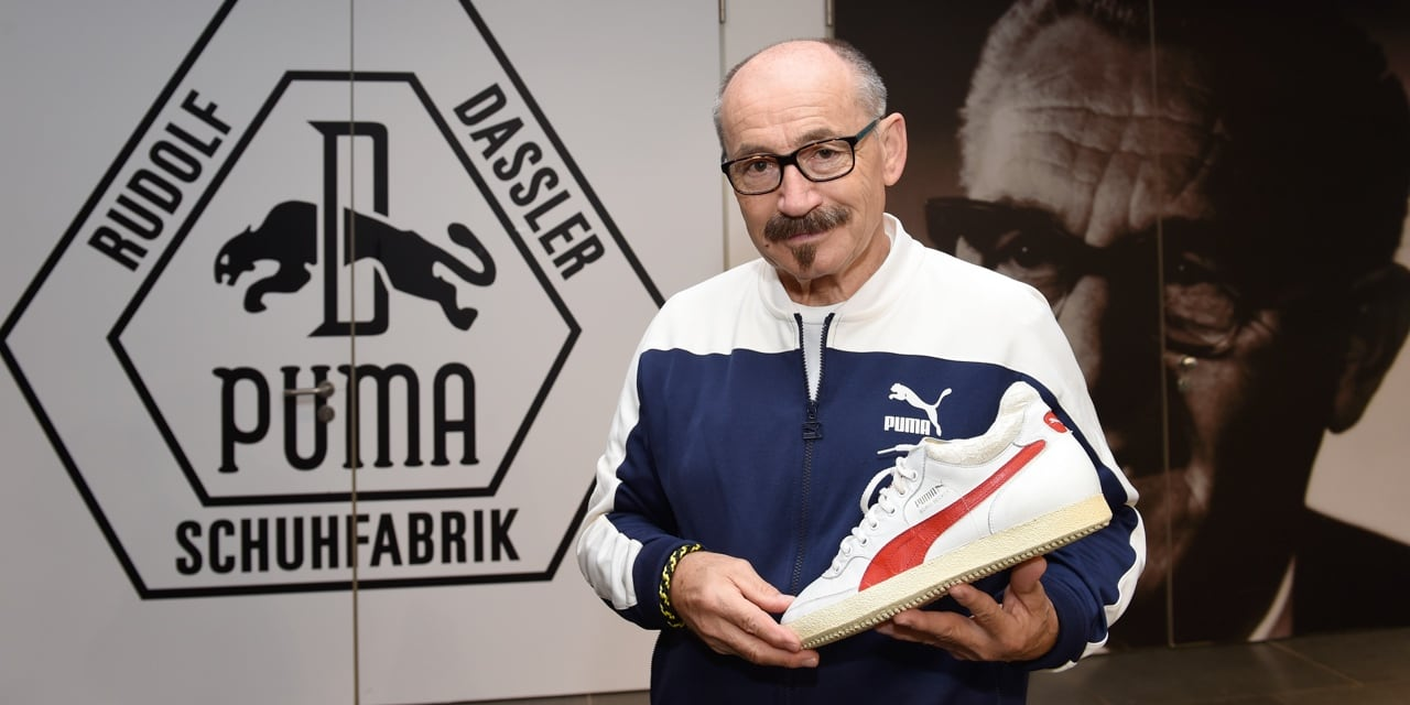 Helmut Fischer is showing a PUMA shoe
