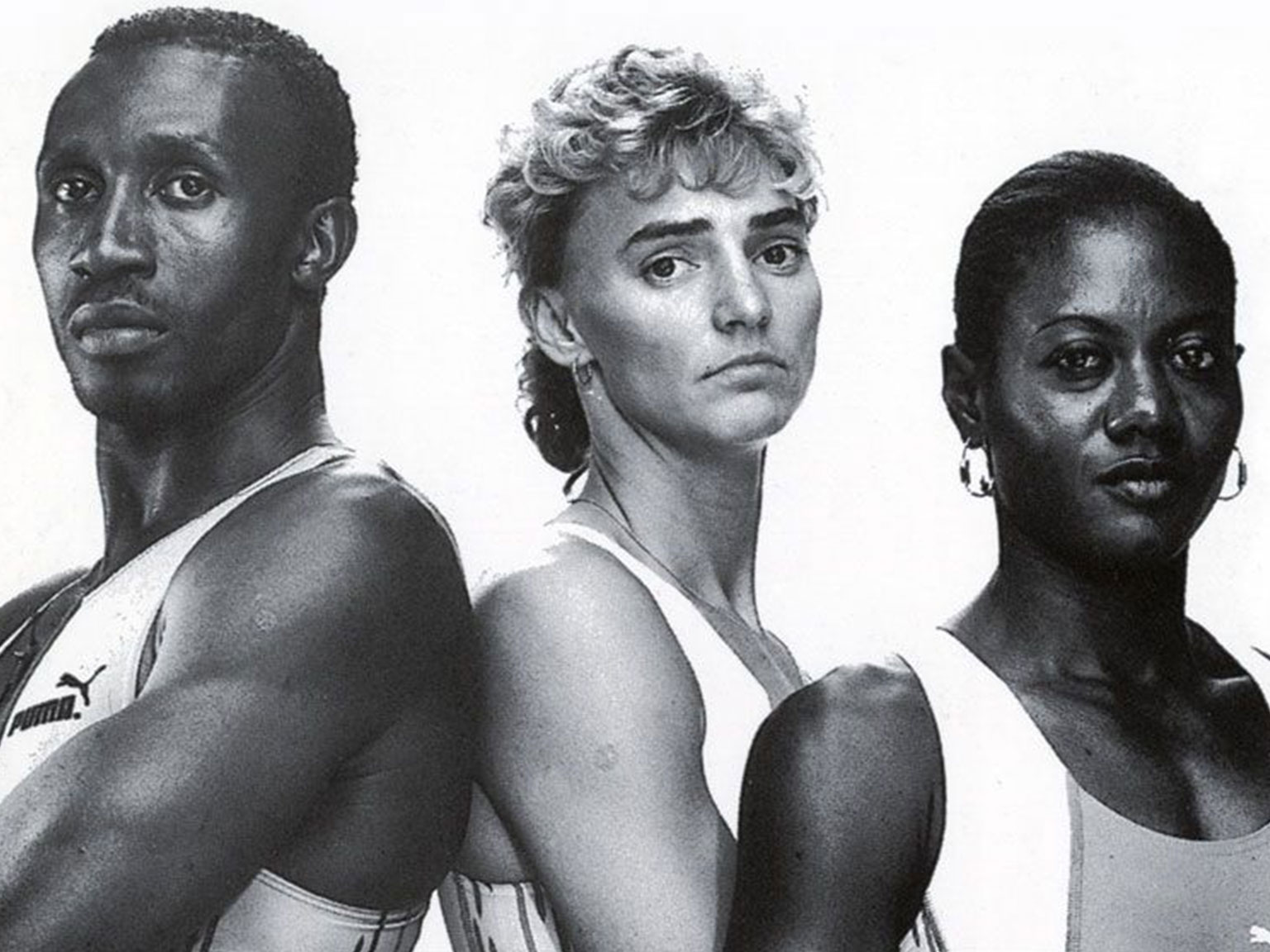 Heike Drechsler, Merlene Ottey and Linford Christie